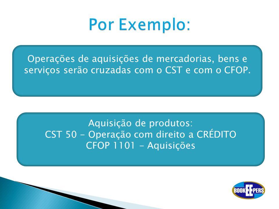 Operações de aquisições de mercadorias, bens e serviços serão cruzadas com o CST e com o CFOP. Aquisição de produtos: CST 50 - Operação com direito a