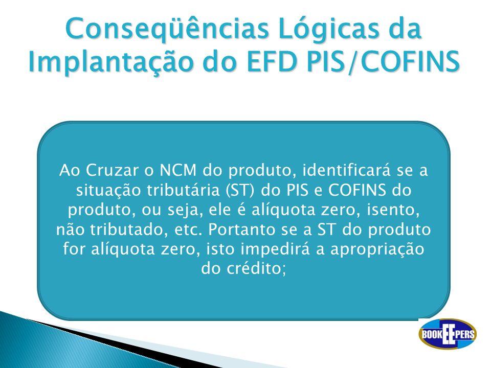 Conseqüências Lógicas da Implantação do EFD PIS/COFINS Ao Cruzar o NCM do produto, identificará se a situação tributária (ST) do PIS e COFINS do produ