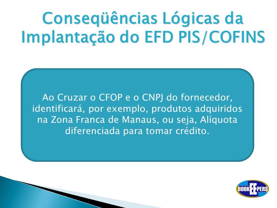 Conseqüências Lógicas da Implantação do EFD PIS/COFINS Ao Cruzar o CFOP e o CNPJ do fornecedor, identificará, por exemplo, produtos adquiridos na Zona