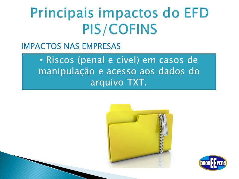 IMPACTOS NAS EMPRESAS Riscos (penal e cível) em casos de manipulação e acesso aos dados do arquivo TXT.