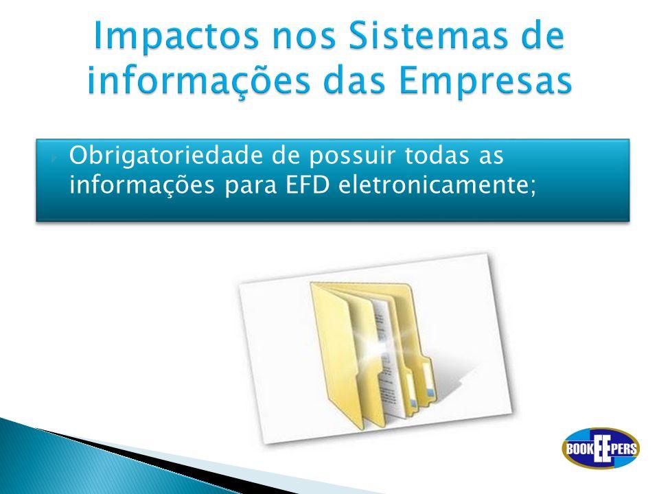 Obrigatoriedade de possuir todas as informações para EFD eletronicamente;