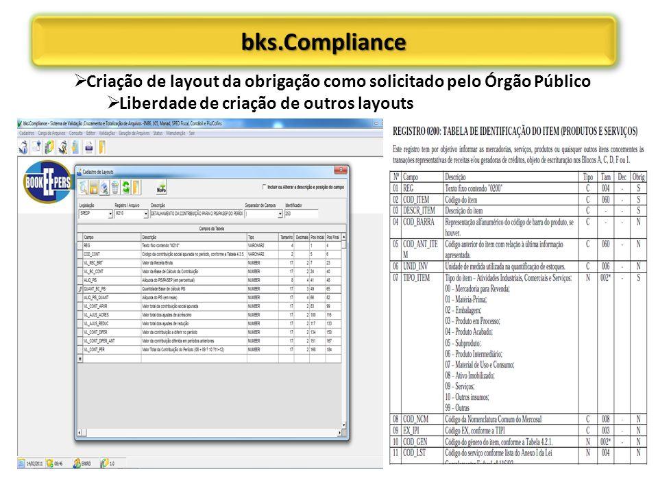 bks.Compliancebks.Compliance Criação de layout da obrigação como solicitado pelo Órgão Público Liberdade de criação de outros layouts