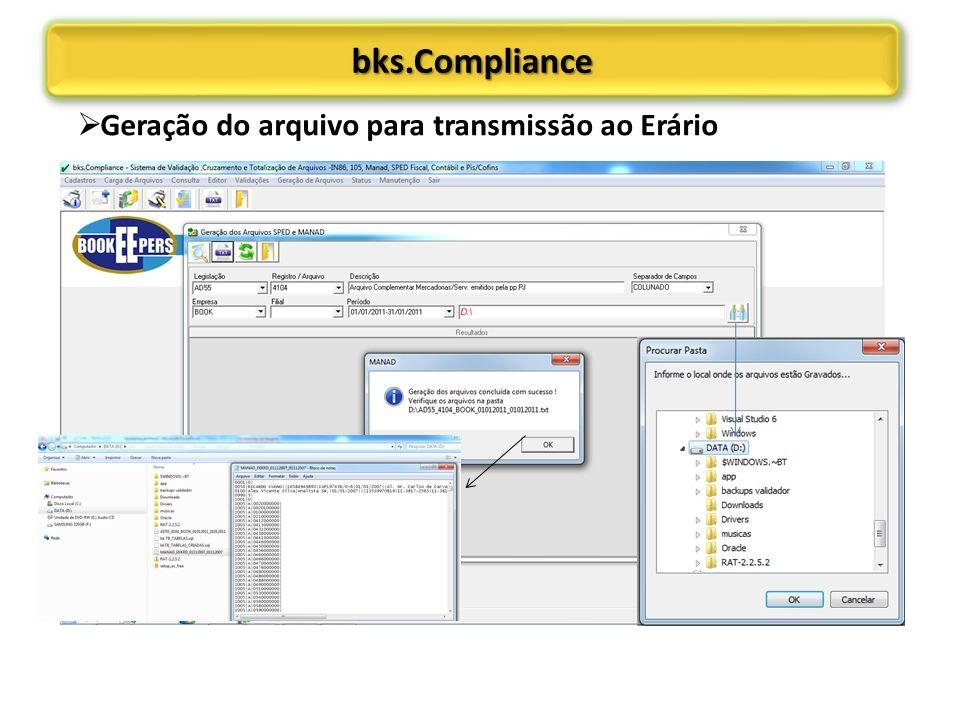 bks.Compliancebks.Compliance Geração do arquivo para transmissão ao Erário