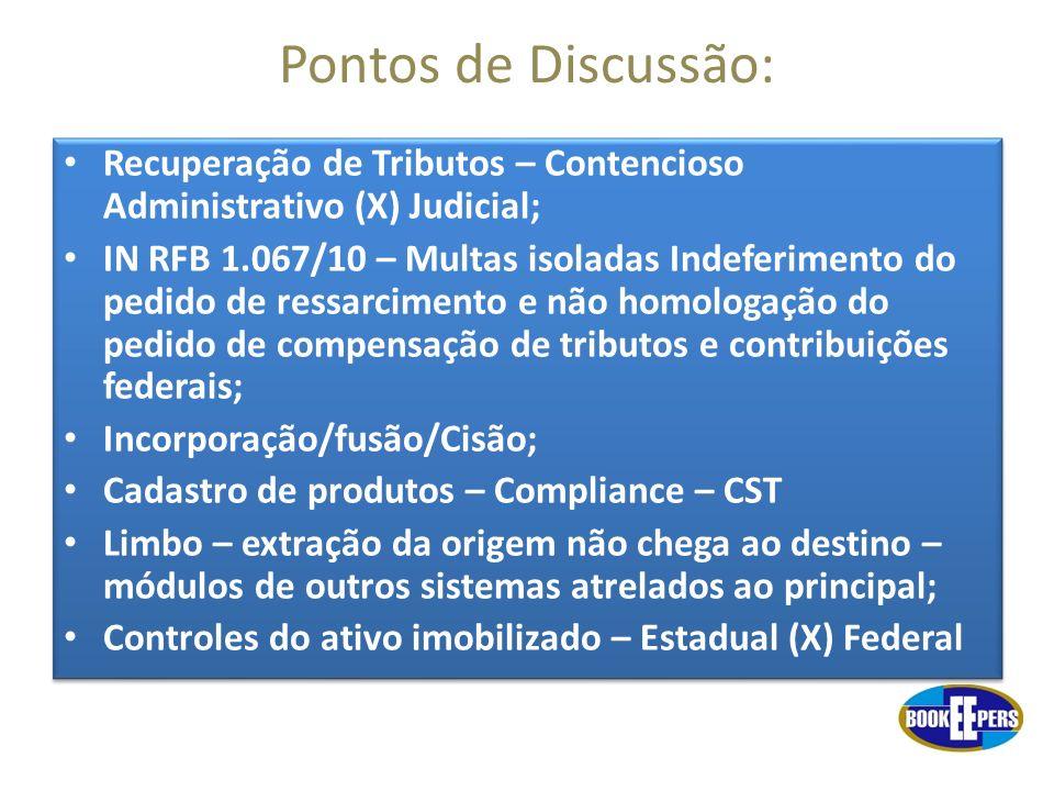 Pontos de Discussão: Recuperação de Tributos – Contencioso Administrativo (X) Judicial; IN RFB 1.067/10 – Multas isoladas Indeferimento do pedido de r