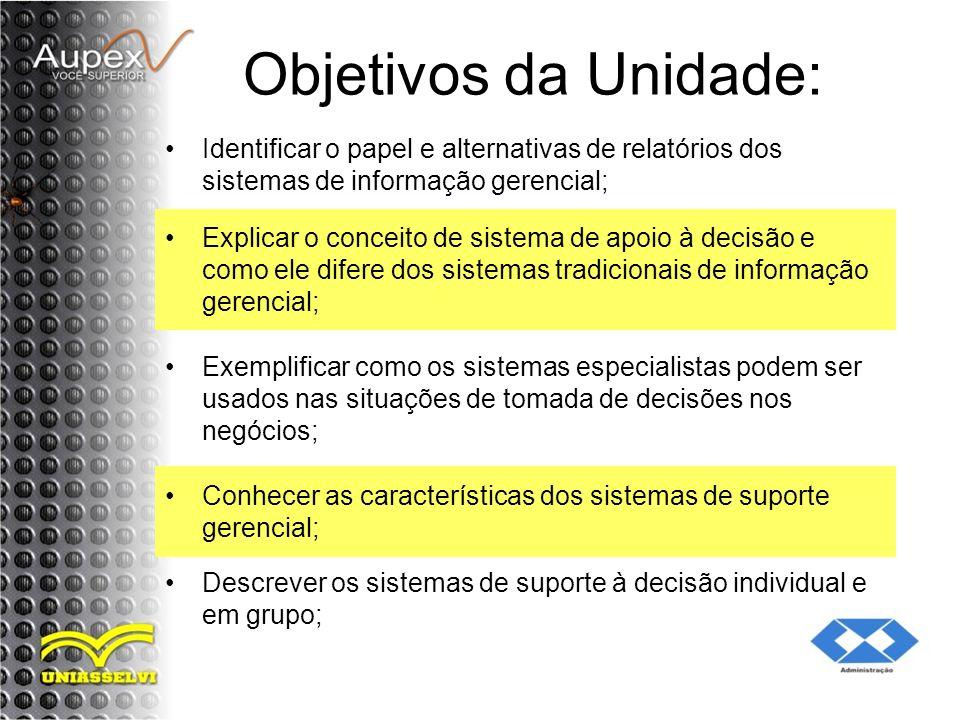 Objetivos da Unidade: Identificar o papel e alternativas de relatórios dos sistemas de informação gerencial; Explicar o conceito de sistema de apoio à