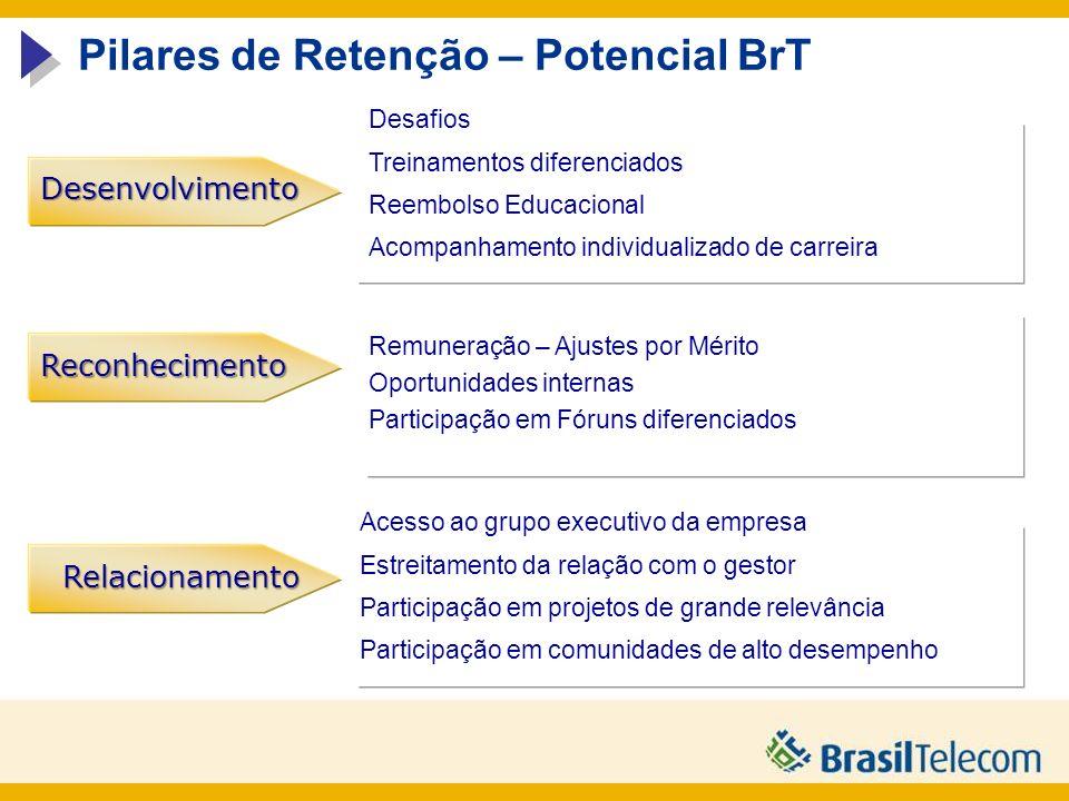 Relacionamento Reconhecimento Desenvolvimento Pilares de Retenção – Potencial BrT Prover ações que possibilitem desenvolver o potencial do talento seja através de novos desafios ou de treinamentos visando o aperfeiçoamento de suas competências.