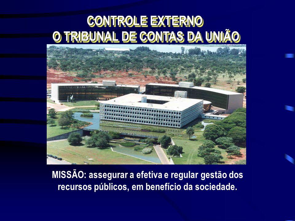 MISSÃO: assegurar a efetiva e regular gestão dos recursos públicos, em benefício da sociedade. CONTROLE EXTERNO O TRIBUNAL DE CONTAS DA UNIÃO CONTROLE