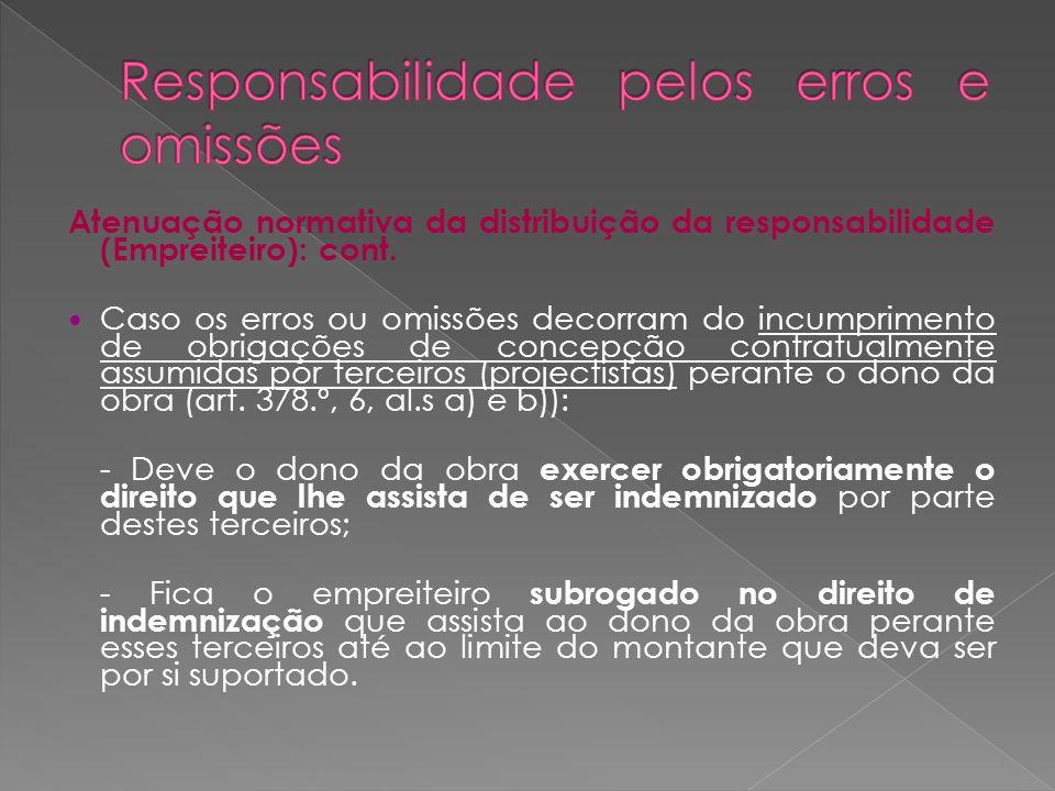 Atenuação normativa da distribuição da responsabilidade (Empreiteiro): cont. Caso os erros ou omissões decorram do incumprimento de obrigações de conc