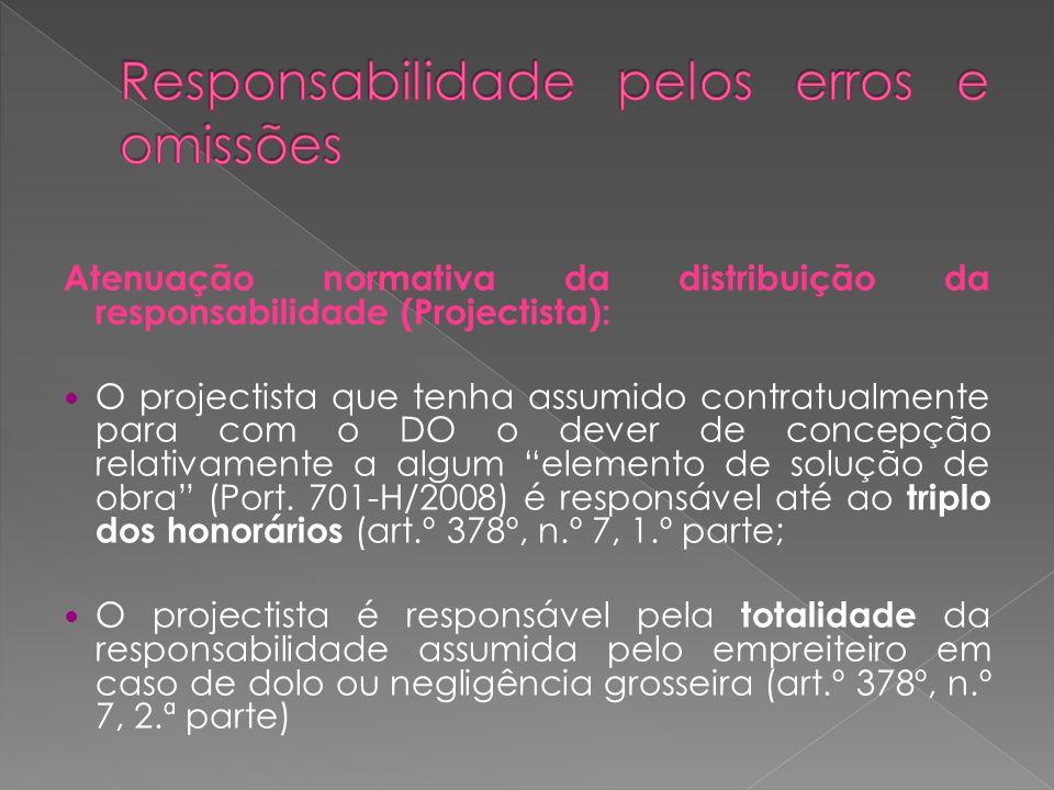 Atenuação normativa da distribuição da responsabilidade (Projectista): O projectista que tenha assumido contratualmente para com o DO o dever de conce