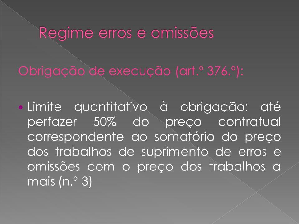 Obrigação de execução (art.º 376.º): Limite quantitativo à obrigação: até perfazer 50% do preço contratual correspondente ao somatório do preço dos tr