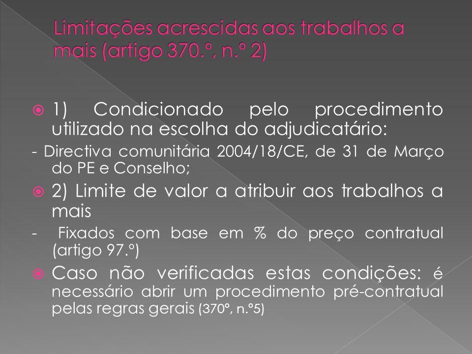 1) Condicionado pelo procedimento utilizado na escolha do adjudicatário: - Directiva comunitária 2004/18/CE, de 31 de Março do PE e Conselho; 2) Limit