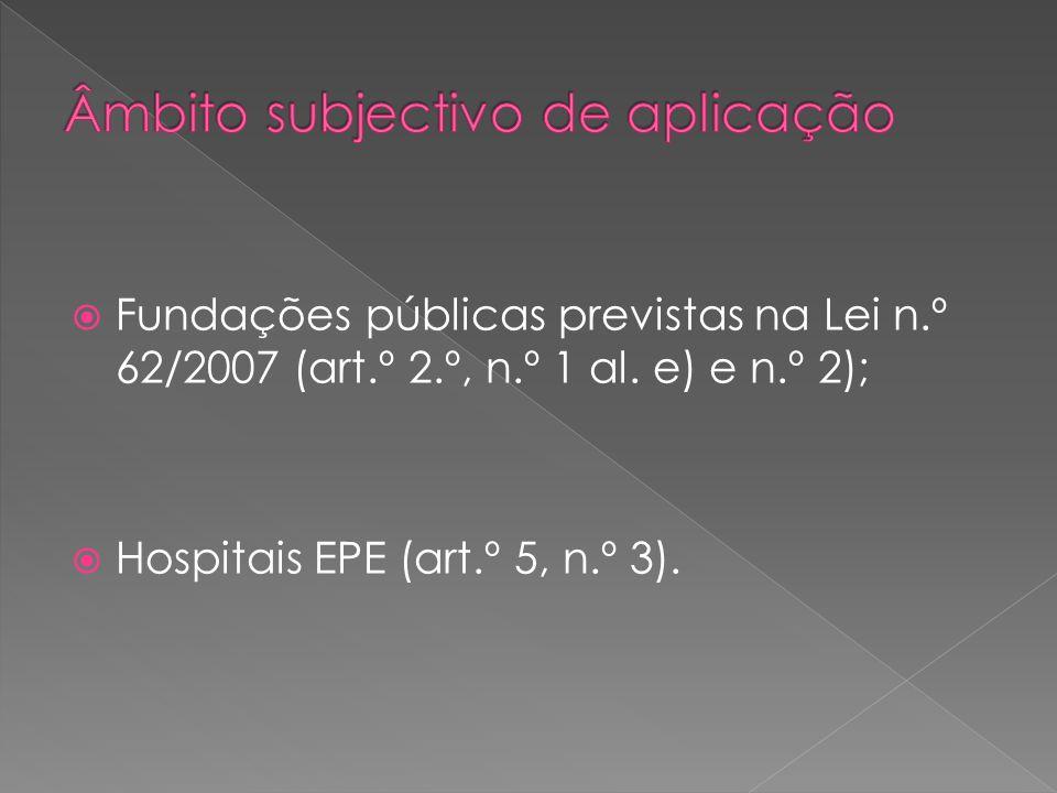 Fundações públicas previstas na Lei n.º 62/2007 (art.º 2.º, n.º 1 al. e) e n.º 2); Hospitais EPE (art.º 5, n.º 3).