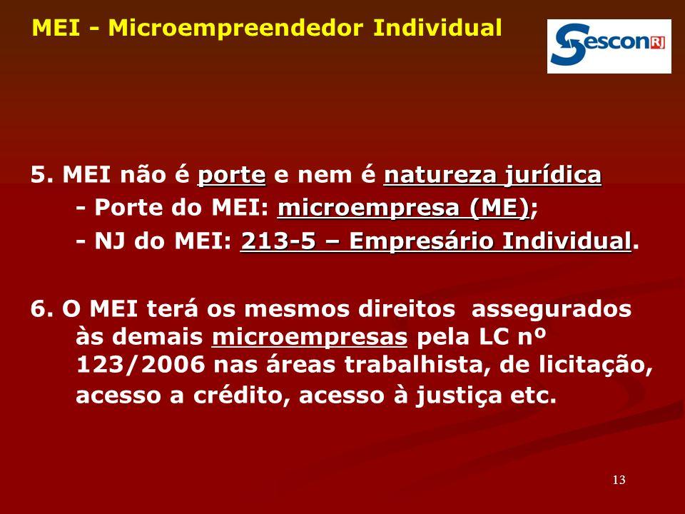 13 MEI - Microempreendedor Individual portenatureza jurídica 5.