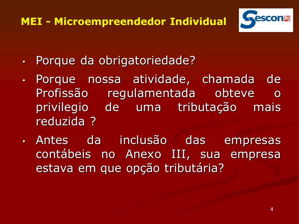 45 MEI - Microempreendedor Individual O desenquadramento do Simei não implica necessariamente exclusão do Simples Nacional.