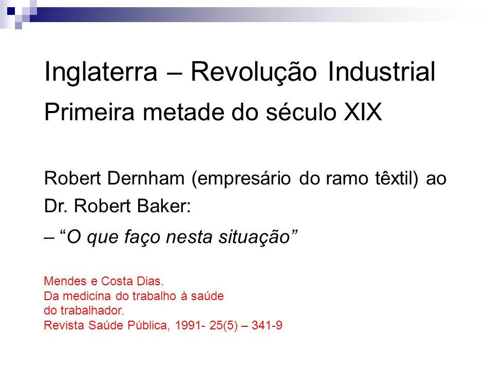 Inglaterra – Revolução Industrial Primeira metade do século XIX Robert Dernham (empresário do ramo têxtil) ao Dr. Robert Baker: – O que faço nesta sit