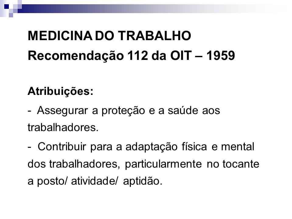 MEDICINA DO TRABALHO Recomendação 112 da OIT – 1959 Atribuições: - Assegurar a proteção e a saúde aos trabalhadores. - Contribuir para a adaptação fís