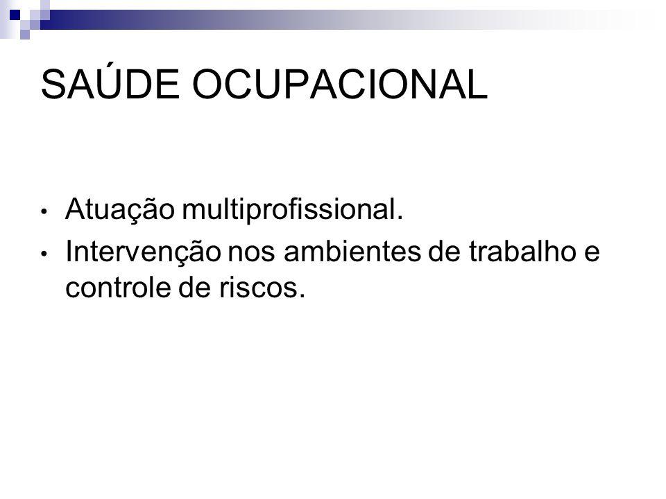 SAÚDE OCUPACIONAL Atuação multiprofissional. Intervenção nos ambientes de trabalho e controle de riscos.