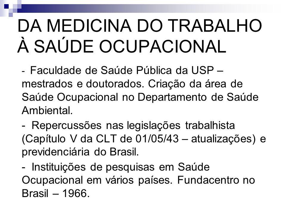 DA MEDICINA DO TRABALHO À SAÚDE OCUPACIONAL - Faculdade de Saúde Pública da USP – mestrados e doutorados. Criação da área de Saúde Ocupacional no Depa