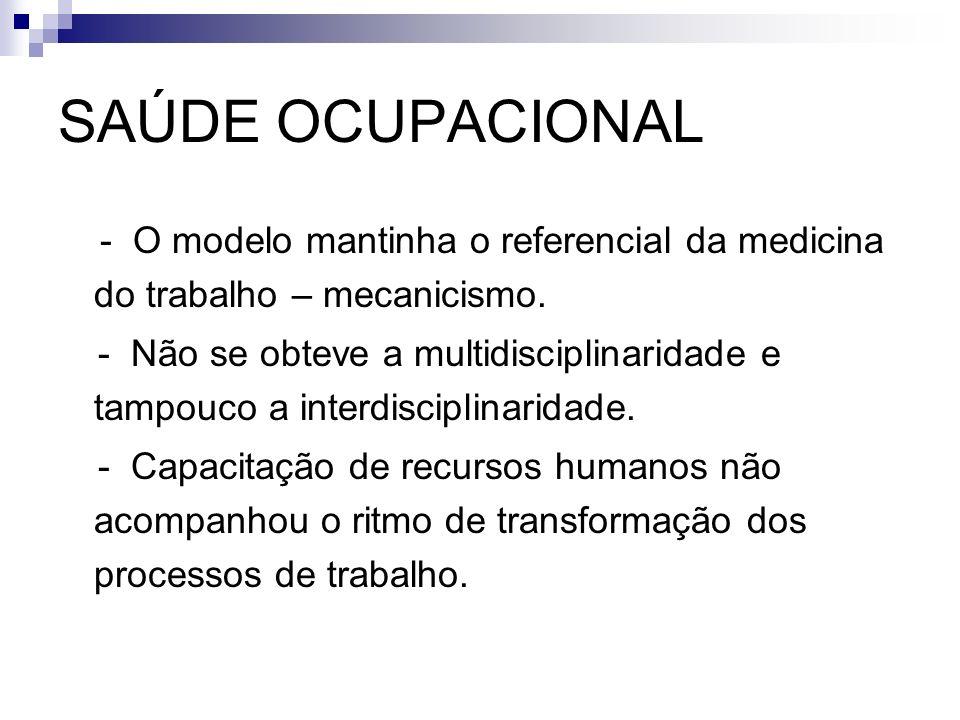 SAÚDE OCUPACIONAL - O modelo mantinha o referencial da medicina do trabalho – mecanicismo. - Não se obteve a multidisciplinaridade e tampouco a interd