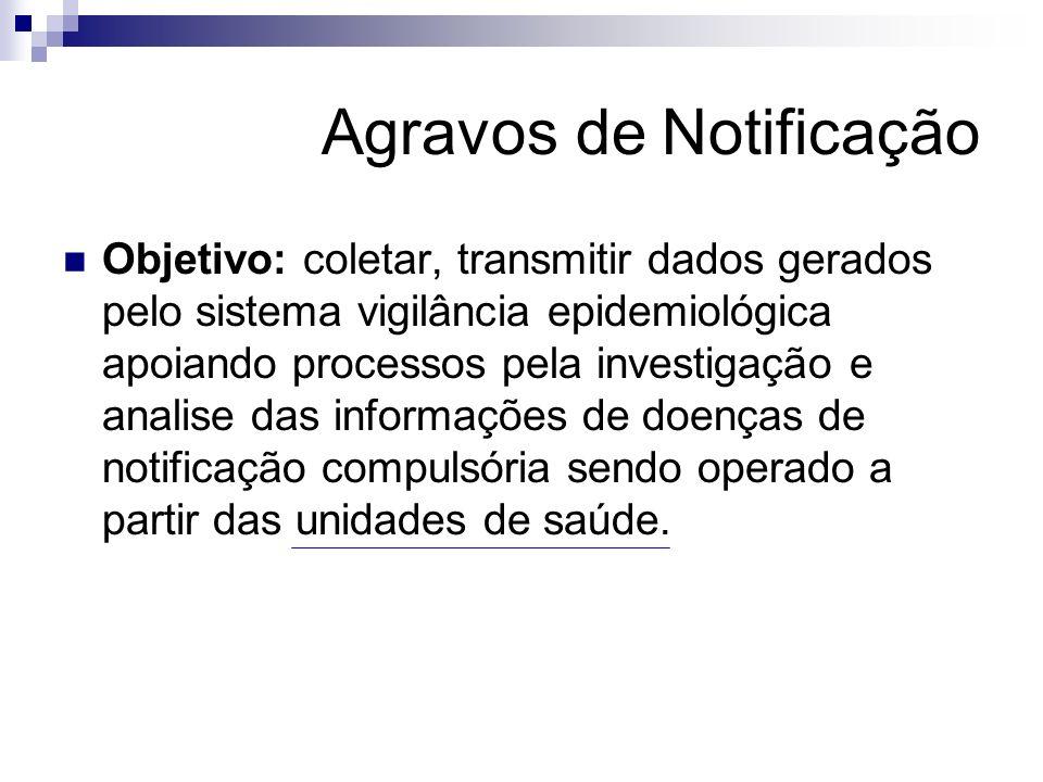 Agravos de Notificação Objetivo: coletar, transmitir dados gerados pelo sistema vigilância epidemiológica apoiando processos pela investigação e anali