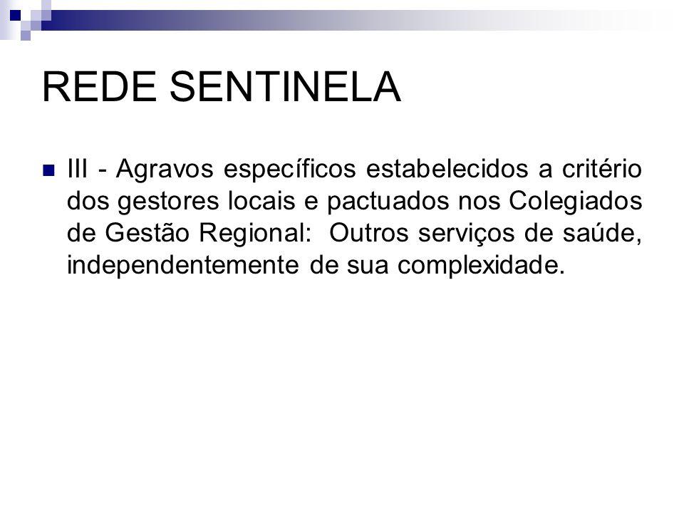 REDE SENTINELA III - Agravos específicos estabelecidos a critério dos gestores locais e pactuados nos Colegiados de Gestão Regional: Outros serviços d