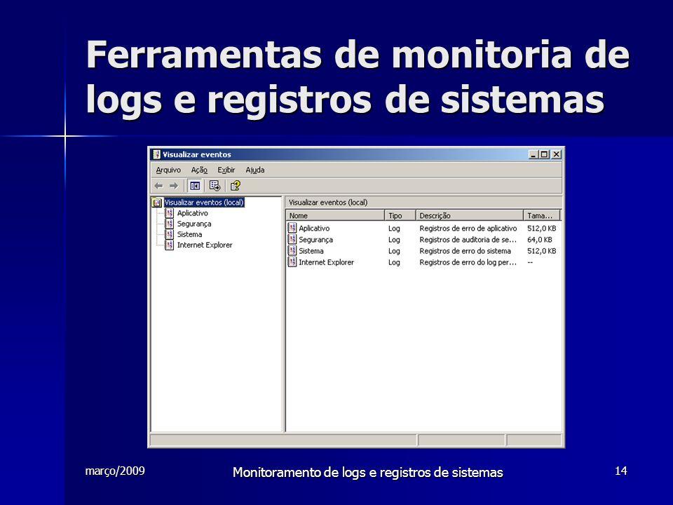 março/2009 Monitoramento de logs e registros de sistemas 14 Ferramentas de monitoria de logs e registros de sistemas