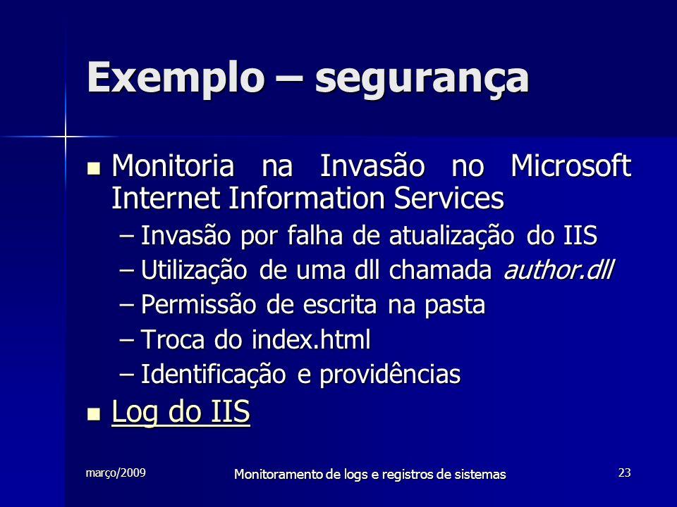 março/2009 Monitoramento de logs e registros de sistemas 23 Exemplo – segurança Monitoria na Invasão no Microsoft Internet Information Services Monito