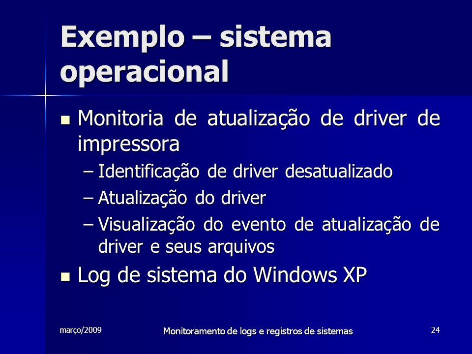 março/2009 Monitoramento de logs e registros de sistemas 24 Exemplo – sistema operacional Monitoria de atualização de driver de impressora Monitoria d