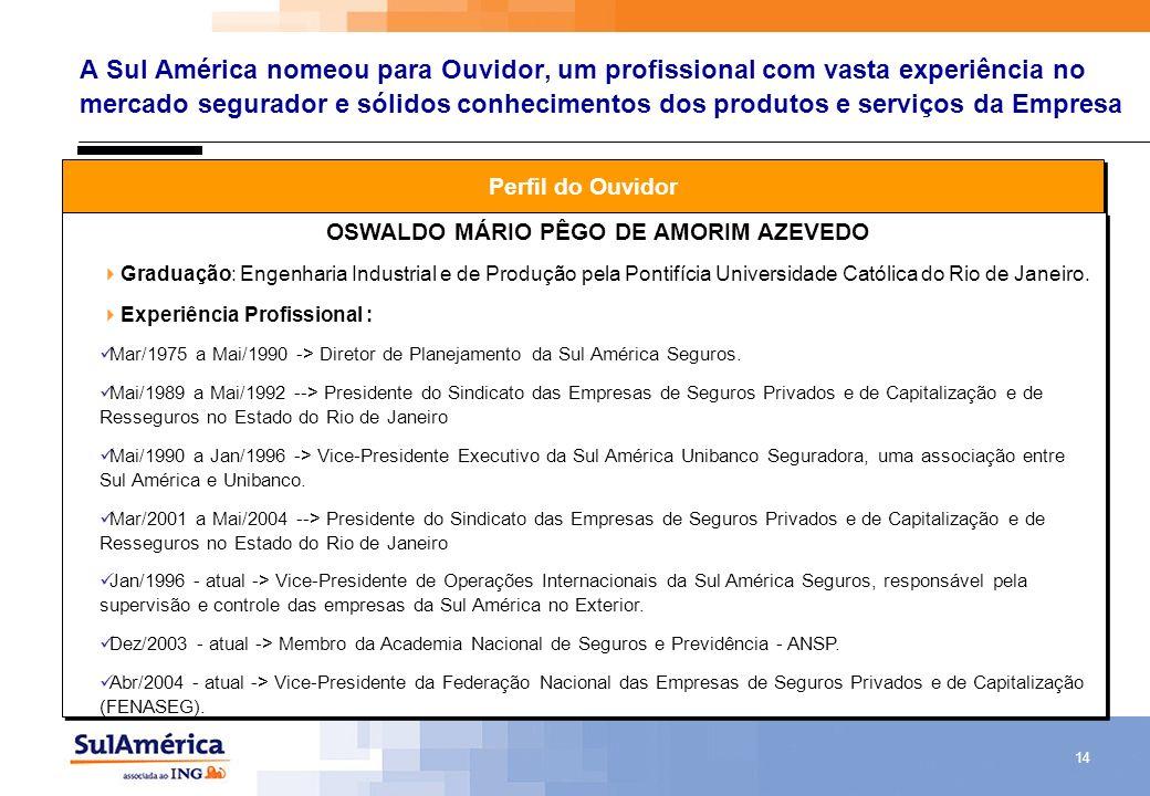 14 A Sul América nomeou para Ouvidor, um profissional com vasta experiência no mercado segurador e sólidos conhecimentos dos produtos e serviços da Em