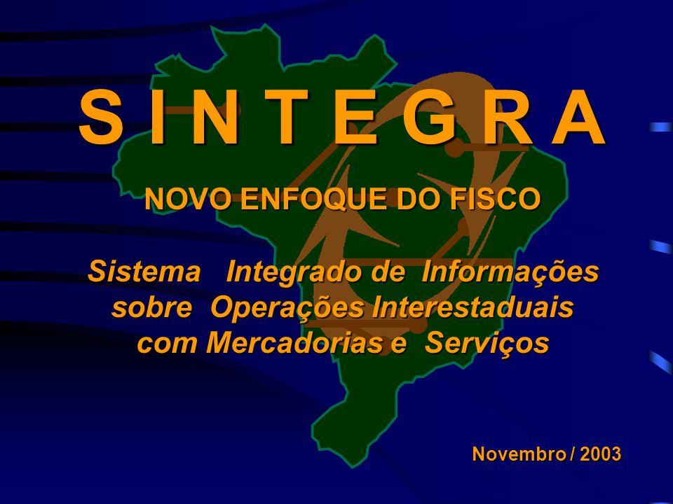 S I N T E G R A NOVO ENFOQUE DO FISCO Sistema Integrado de Informações sobre Operações Interestaduais com Mercadorias e Serviços Novembro / 2003