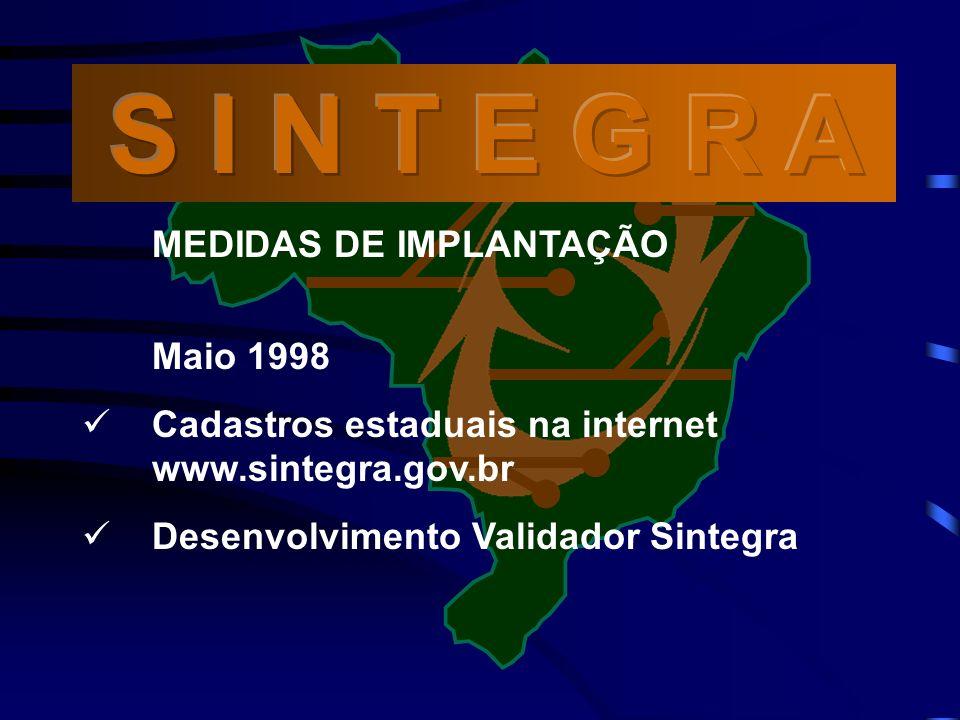 MEDIDAS DE IMPLANTAÇÃO Maio 1998 Cadastros estaduais na internet www.sintegra.gov.br Desenvolvimento Validador Sintegra
