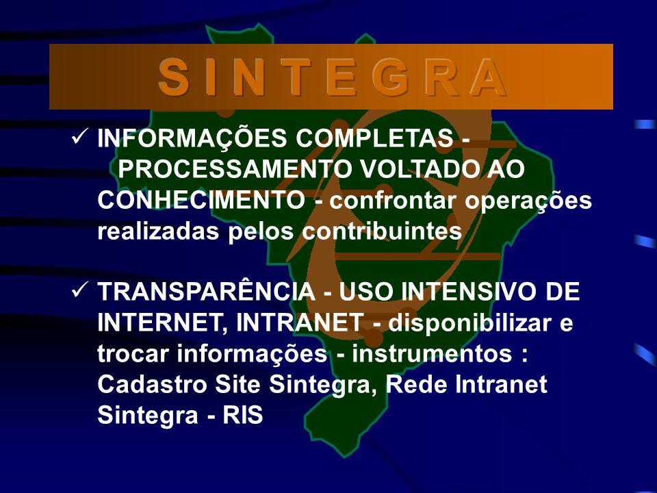 INFORMAÇÕES COMPLETAS - PROCESSAMENTO VOLTADO AO CONHECIMENTO - confrontar operações realizadas pelos contribuintes TRANSPARÊNCIA - USO INTENSIVO DE INTERNET, INTRANET - disponibilizar e trocar informações - instrumentos : Cadastro Site Sintegra, Rede Intranet Sintegra - RIS