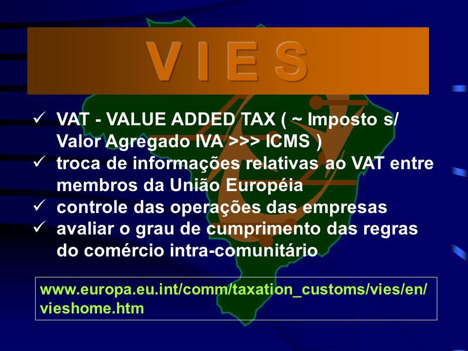 www.europa.eu.int/comm/taxation_customs/vies/en/ vieshome.htm VAT - VALUE ADDED TAX ( ~ Imposto s/ Valor Agregado IVA >>> ICMS ) troca de informações relativas ao VAT entre membros da União Européia controle das operações das empresas avaliar o grau de cumprimento das regras do comércio intra-comunitário