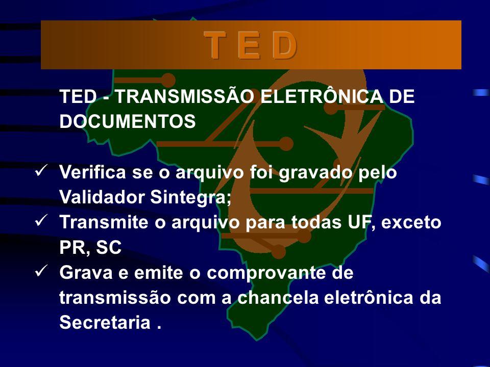 TED - TRANSMISSÃO ELETRÔNICA DE DOCUMENTOS Verifica se o arquivo foi gravado pelo Validador Sintegra; Transmite o arquivo para todas UF, exceto PR, SC Grava e emite o comprovante de transmissão com a chancela eletrônica da Secretaria.