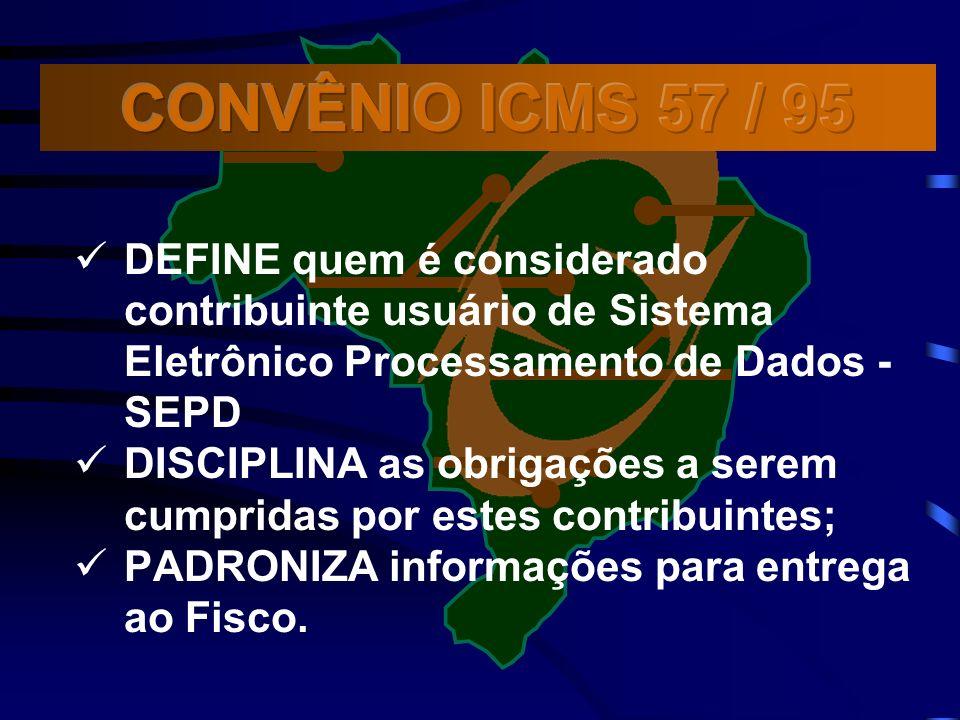 DEFINE quem é considerado contribuinte usuário de Sistema Eletrônico Processamento de Dados - SEPD DISCIPLINA as obrigações a serem cumpridas por estes contribuintes; PADRONIZA informações para entrega ao Fisco.