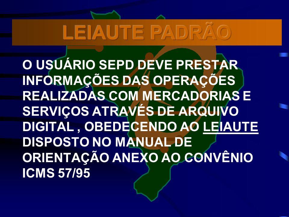 O USUÁRIO SEPD DEVE PRESTAR INFORMAÇÕES DAS OPERAÇÕES REALIZADAS COM MERCADORIAS E SERVIÇOS ATRAVÉS DE ARQUIVO DIGITAL, OBEDECENDO AO LEIAUTE DISPOSTO NO MANUAL DE ORIENTAÇÃO ANEXO AO CONVÊNIO ICMS 57/95