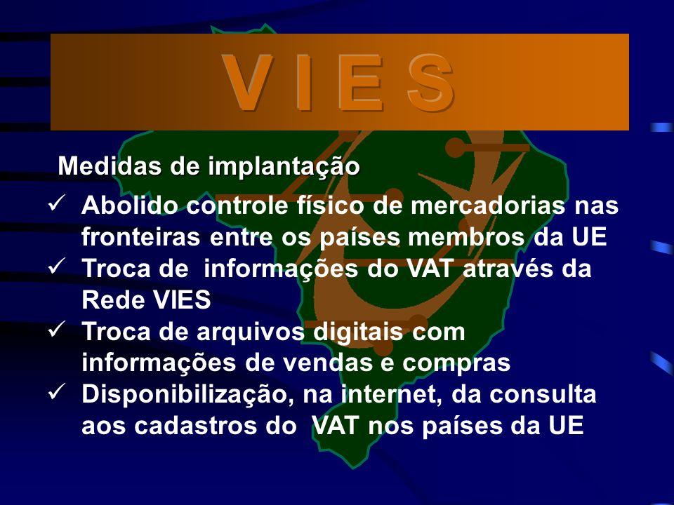 Abolido controle físico de mercadorias nas fronteiras entre os países membros da UE Troca de informações do VAT através da Rede VIES Troca de arquivos digitais com informações de vendas e compras Disponibilização, na internet, da consulta aos cadastros do VAT nos países da UE Medidas de implantação