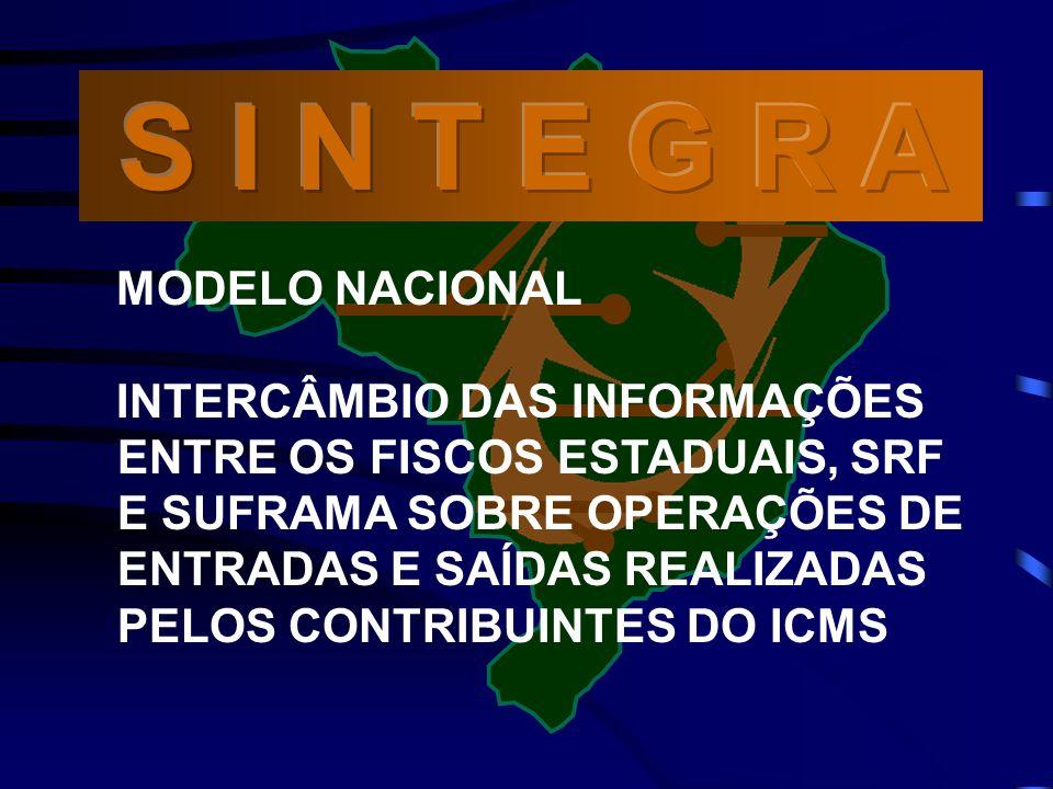 MODELO NACIONAL INTERCÂMBIO DAS INFORMAÇÕES ENTRE OS FISCOS ESTADUAIS, SRF E SUFRAMA SOBRE OPERAÇÕES DE ENTRADAS E SAÍDAS REALIZADAS PELOS CONTRIBUINTES DO ICMS