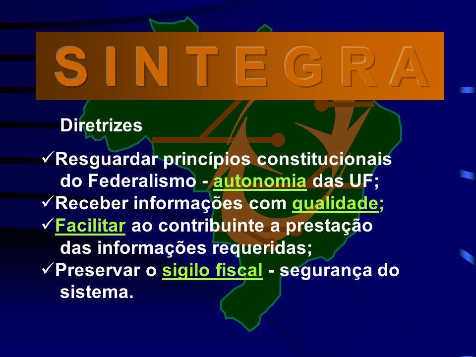 Diretrizes Resguardar princípios constitucionais do Federalismo - autonomia das UF; Receber informações com qualidade; Facilitar ao contribuinte a prestação das informações requeridas; Preservar o sigilo fiscal - segurança do sistema.