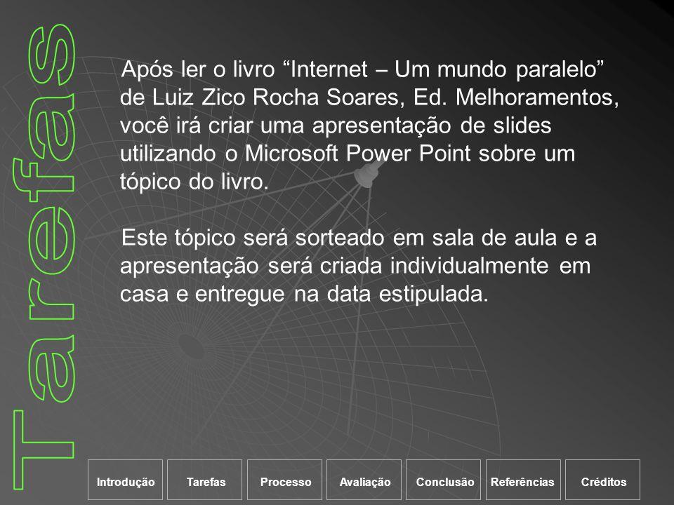 Após ler o livro Internet – Um mundo paralelo de Luiz Zico Rocha Soares, Ed. Melhoramentos, você irá criar uma apresentação de slides utilizando o Mic