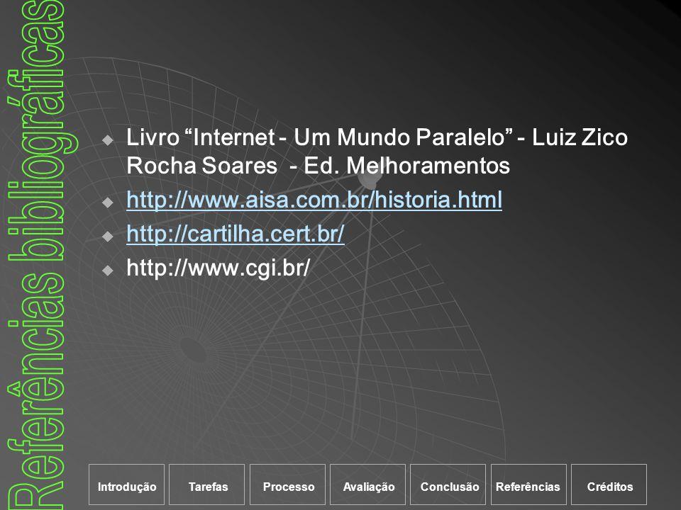 Livro Internet - Um Mundo Paralelo - Luiz Zico Rocha Soares - Ed. Melhoramentos http://www.aisa.com.br/historia.html http://cartilha.cert.br/ http://w