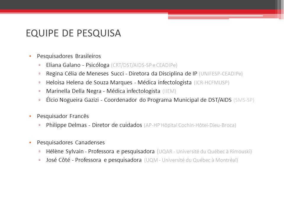 EQUIPE DE PESQUISA Pesquisadores Brasileiros Eliana Galano - Psicóloga (CRT/DST/AIDS-SP e CEADIPe) Regina Célia de Meneses Succi - Diretora da Disciplina de IP (UNIFESP-CEADIPe) Heloisa Helena de Souza Marques - Médica infectologista (ICR-HCFMUSP) Marinella Della Negra - Médica infectologista (IIEM) Élcio Nogueira Gazizi - Coordenador do Programa Municipal de DST/AIDS (SMS-SP) Pesquisador Francês Philippe Delmas - Diretor de cuidados (AP-HP Hôpital Cochin-Hôtel-Dieu-Broca) Pesquisadores Canadenses Hélène Sylvain - Professora e pesquisadora ( UQAR - Université du Québec à Rimouski) José Côté - Professora e pesquisadora (UQM - Université du Québec à Montréal)