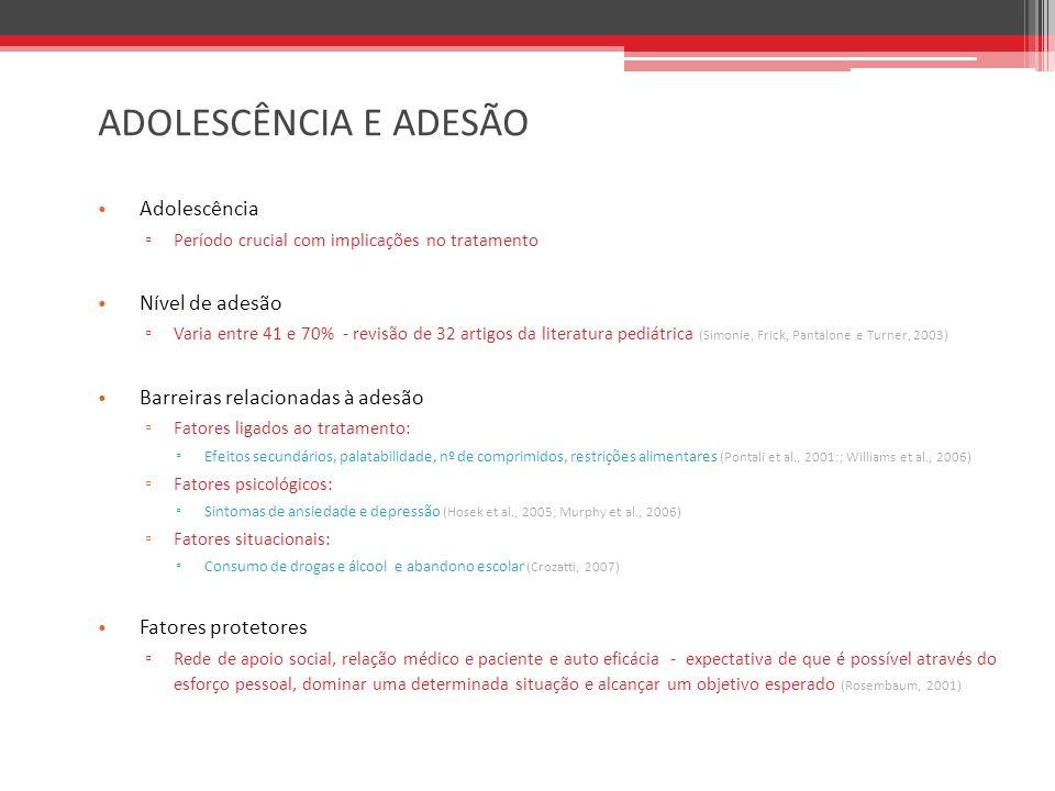 OBJETIVOS Geral Compreender a experiência dos adolescentes vivendo com HIV, na cidade de São Paulo, e explorar os fatores que influenciam sua adesão terapêutica.