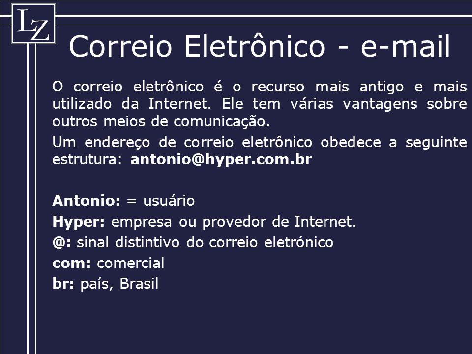 L Z Correio Eletrônico - e-mail O correio eletrônico é o recurso mais antigo e mais utilizado da Internet.
