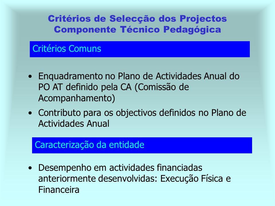 Critérios de Selecção dos Projectos Componente Técnico Pedagógica Enquadramento no Plano de Actividades Anual do PO AT definido pela CA (Comissão de Acompanhamento) Desempenho em actividades financiadas anteriormente desenvolvidas: Execução Física e Financeira Critérios Comuns Caracterização da entidade Contributo para os objectivos definidos no Plano de Actividades Anual