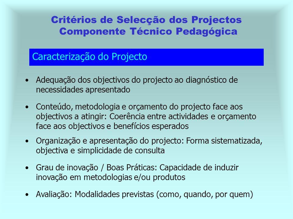 Critérios de Selecção dos Projectos Componente Técnico Pedagógica Avaliação: Modalidades previstas (como, quando, por quem) Caracterização do Projecto Adequação dos objectivos do projecto ao diagnóstico de necessidades apresentado Conteúdo, metodologia e orçamento do projecto face aos objectivos a atingir: Coerência entre actividades e orçamento face aos objectivos e benefícios esperados Organização e apresentação do projecto: Forma sistematizada, objectiva e simplicidade de consulta Grau de inovação / Boas Práticas: Capacidade de induzir inovação em metodologias e/ou produtos