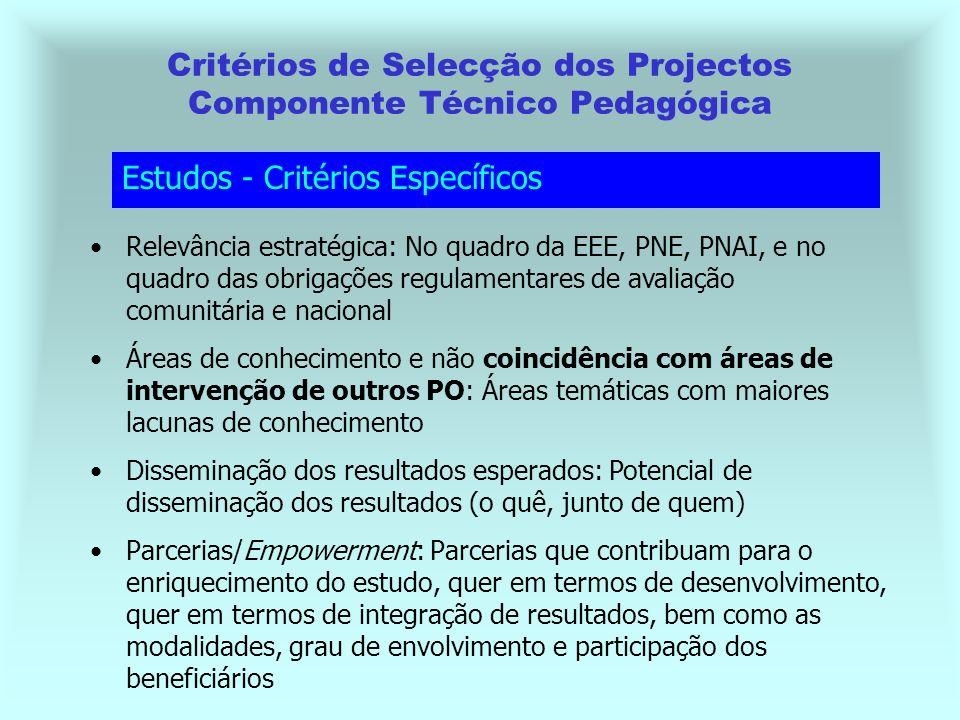 Parcerias/Empowerment: Parcerias que contribuam para o enriquecimento do estudo, quer em termos de desenvolvimento, quer em termos de integração de resultados, bem como as modalidades, grau de envolvimento e participação dos beneficiários Critérios de Selecção dos Projectos Componente Técnico Pedagógica Estudos - Critérios Específicos Relevância estratégica: No quadro da EEE, PNE, PNAI, e no quadro das obrigações regulamentares de avaliação comunitária e nacional Áreas de conhecimento e não coincidência com áreas de intervenção de outros PO: Áreas temáticas com maiores lacunas de conhecimento Disseminação dos resultados esperados: Potencial de disseminação dos resultados (o quê, junto de quem)