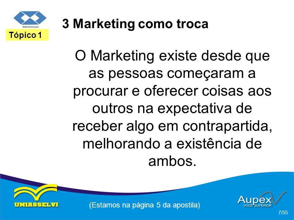 3 Marketing como troca O Marketing existe desde que as pessoas começaram a procurar e oferecer coisas aos outros na expectativa de receber algo em con