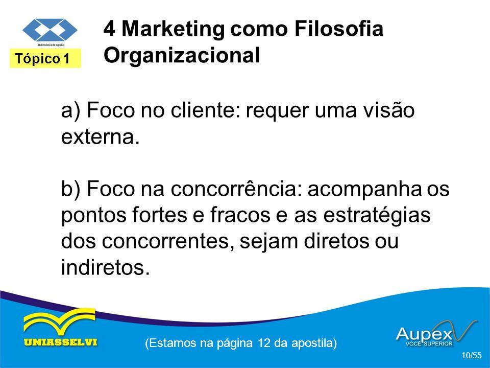 4 Marketing como Filosofia Organizacional a) Foco no cliente: requer uma visão externa. b) Foco na concorrência: acompanha os pontos fortes e fracos e
