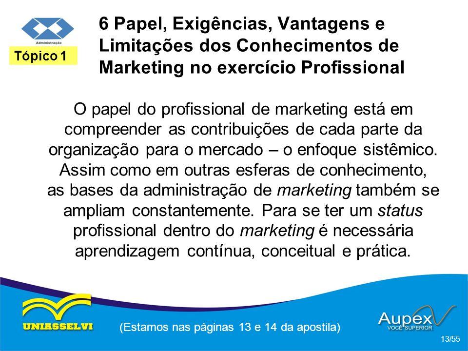 6 Papel, Exigências, Vantagens e Limitações dos Conhecimentos de Marketing no exercício Profissional O papel do profissional de marketing está em comp